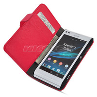2013 New Slim Wallet Stand Case Leather Case with Credit Card Slot   For Sony Xperia L S36H C2105 C2104