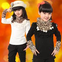 Children's clothing female child autumn and winter child 100% cotton long-sleeve T-shirt leopard print plus velvet thickening