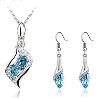 LULUV wholesale 18K White Gold Plated Crystal Necklace and Earrings Make With AU Crystal Set Wholesale Fashion Jewelry