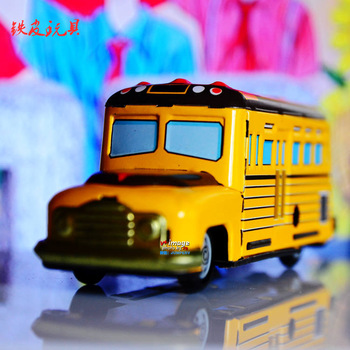 Metal classic wind up toys big yellow school bus accidnetal frog