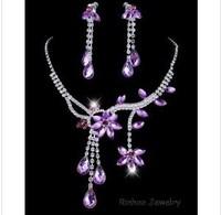 Hot Sale Flower Tassel Crystal CZ Rhinestone Choker Necklace Earring Set Wedding Party Jewelry Mix Colors