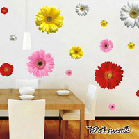 Cheap Cartoon Colorful Flower chrysanthemum chrysanthemum PVC Wall Sticker Wall Decal Wallpaper RoomSticker House Sticker LD613