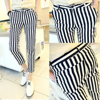 Men's clothing casual pants ankle length trousers male stripe pants slim 9 pants vertical stripe trousers male