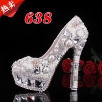 Dream luxury pearl wedding shoes rhinestone  crystal  high-heeled shoes