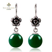 Exotic 925 pure silver LAOYINJIANG green agate earrings drop earring accessories thai silver rose Women