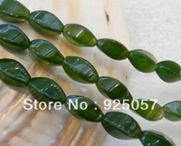"8x16mm Natural Green Emerald  Twisting Loose Beads 15"""" Fashion jewelry"
