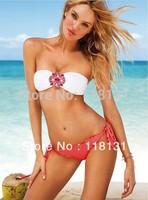 Free shipping! high-quality sexy with cup swimwear shoulder strap bikini  style crystal flower swimwear women