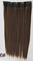 "Medium brown #6,22""Silky Straight Remy Clip in Synthetic hair extensions ,5clips a set,free shipping"