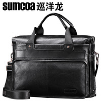 sale Genuine leather fashion commercial computer briefcase large capacity portable travel man bag 7741 - 5