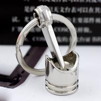 10pcs/lot,Polished Chrome,Creative Hot Engine Piston Keychain Key Chain Ring Key Fob Keyring car gift friends