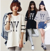 Free shipping fashion cotton Tshirt 2013 slobbish HARAJUKU street style NY letter batwing sleeve loose