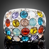 New! Platinum Plated Full Multicolor SWA ELEMENTS Austrian Crystal Water Drop Ring FREE SHIPPING!(Azora TR0058)