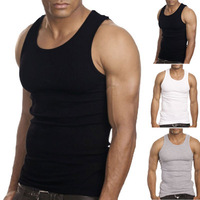 Muscle Men Top Quality 100% Premium Cotton  A-Shirt Wife Beater Ribbed Tank Top