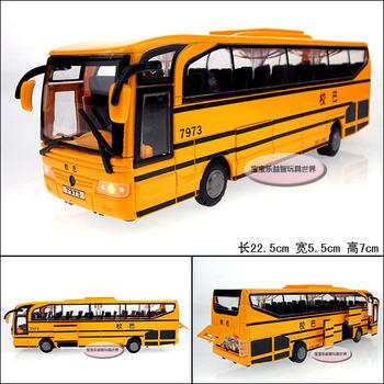 Luxury school bus ultralarge exquisite alloy door acoustooptical WARRIOR alloy car model