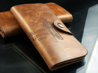 Genuine leather cowhide men's wallet Men long design hasp wallet
