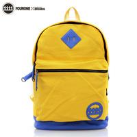 Fourone big capacity laptop bag brief PU hemming canvas student school bag backpack 9182