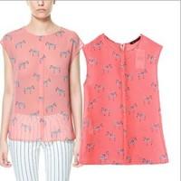 WSWG, New  European Style Za Zebra Print Round Neck Sleeveless Chiffon Shirt Women Blouses