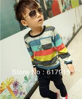Free shipping! Children's 2012 autumn cute boy's color Stripe fashionable long-sleeved T-shirt,5pcs/lot