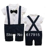 boby One-Piece romper Gentleman Suspenders trousers romper boy's short sleeve romper 4pcs/lot