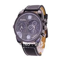 OULM MAN WATCH WITH DUAL JAPAN MOVT/PU LEATHER BAND/ROU