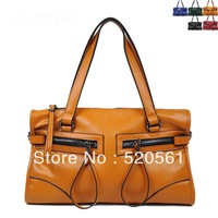 High quality leather bag fashion motorcycle bag genuine leather handbag women's messenger bag, 5 colors available, 35*19*11cm