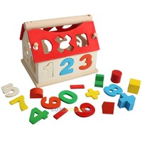 Wooden Toy House Intellectual Souptoy Kid Building Block Digital Number Color