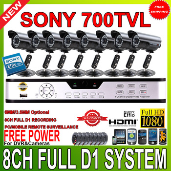 Full 8CH D1 960H HDMI 1080P H.264 VGA DVR kit  sony CCD700tvl 36IR video outdoor camera CCTV system mobile surveillance