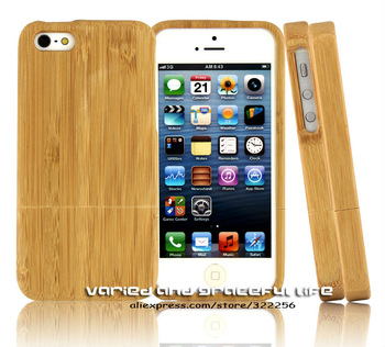 Free Shipping Original Natural Bamboo Case for Apple iPhone 5,Brand New,Wooden Cover with Aluminum Buckle,Hot Selling for Sale