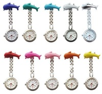 100pcs/lot Dolphin nurses table Pocket Watches Nurse watch 10 colors Free shipping