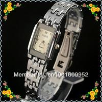 free shipping 10pcs/lots FASHION Square Silver Band WHITE FACE Hours Lady Women GIRLS Analog Bracelet Wrist WatCH 1217