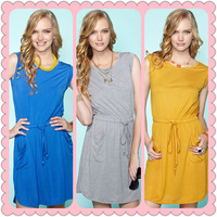 Fashion Style Women Cotton Dress Yellow/Black/Blue/Gray Colors, Slim One-piece Casual Dresses   #JM06106--Free Shipping