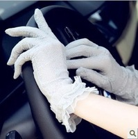 Summer short design finger gloves sunscreen full lace female skin care anti-uv gloves armfuls