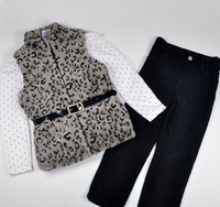 2013New Arrive Baby Girls clothing suits Kids three piecs sets--fashion coat+cotton tee+pants free shipping