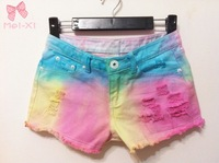Gradient color  flash sexy ultra  low waist tassel tie-dyeing denim jeans shorts for women