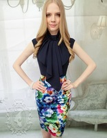 Free Shipping 2013 New Arrival Pink Doll Floral Empire Waist Summer Pencil Skirt