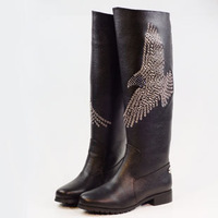 Fashion autumn and winter paragraph personality high-leg boots rhinestone rivet cutout boots genuine leather boots
