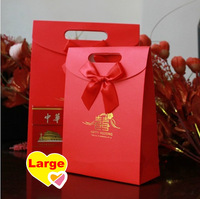 50pcs/lot Free Shipping Wholesale Wedding Favor Gift Bag Red Color Decorate With Bowknot Handle Candy Boxes Large Size