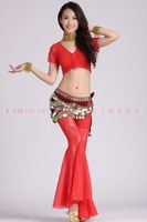 belly dance dancing lace short sleeve top+bell-bottom pants skirt+328 coins hip scarf costume 3pcs/set stage wear