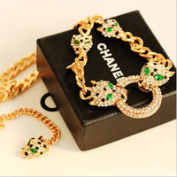 I2 HOT Fashion Tiger Green Gemstone Diamond Necklace China Bijouterie Qingdao Women Jewellery lab glObal ACCeSSories Wholesale