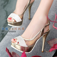 Summer crystal sandals rhinestone open toe women's shoes diamond 59965 stiletto
