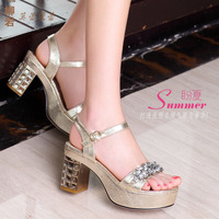 free shipping Rhinestone check female sandals elevator platform shoes thick heels l32-1