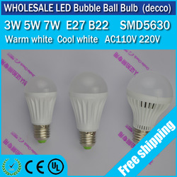 Free Shipping 10pcs/lot led ball light bulb 3w 5w 7w E27 B22 AC110V/220V Epistar 5630smd warm/cool white Bubble Ball Bulb(China (Mainland))