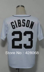 Embroidery Logos Free Shipping-23 Kirk Gibson Men's Authentic 1984 Home White Throwback Cheap Baseball Jerseys Size:48-56(China (Mainland))