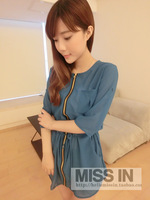 Women's 2013 summer medium-long lacing slim waist half sleeve chiffon shirt top cardigan