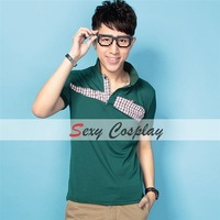 2013 Fashion Cotton Stand Collar Plaid Splicing Short Sleeve Polo T Shirts Men Polo Shirts