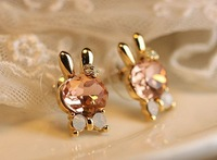 Bow crystal rabbit stud earring small accessories