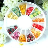 Nail art tools 3d resin accessories fruit food flake adorn for nail art sticker 12grid/set