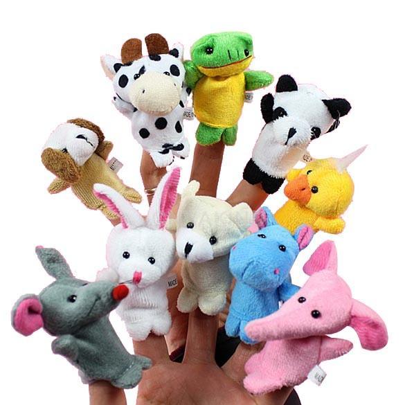 #C 10x Cartoon Biological Animal Finger Puppet Plush Toys Child Baby Favor Dolls(China (Mainland))