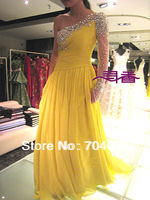 Red Carpet One shoulder Yellow chiffon with heavy stone long sleeve floor-length Celebrity Dresses