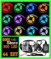 5pcs /lot  RGB led strip SMD 5050  Waterproof 300 Led Strip Light + 44 Keys IR Remote +5A 12V  power adapter free shipping